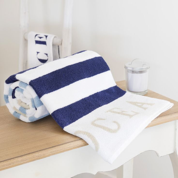 Drap de bain rayée en coton bleue 100x150 OCÉAN | Maisons du Monde
