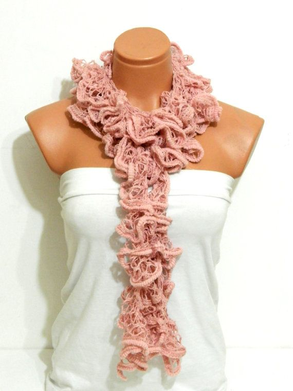 The scarf is knitted with soft pink, soft yarn. Long scarf. Romantic. For her. HAND MADE.