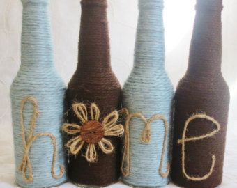 Yarn Wrapped Twine Bottles Home Decor Grey and Blue by OrangeCreek