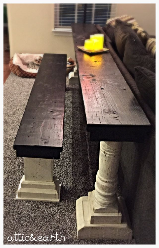 Handmade sofa table with bench seat by atticandearth on Etsy