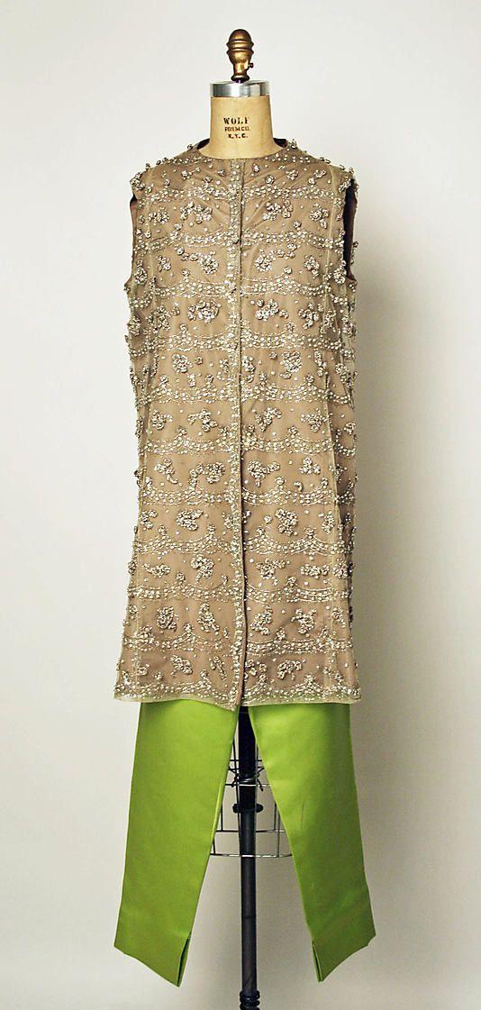 Ensemble, Evening. House of Balenciaga (French, founded 1937). Designer: Cristobal Balenciaga (Spanish, 1895–1972). Date: 1963. Culture: French. Medium: silk, cotton, metallic thread, rhinestones.