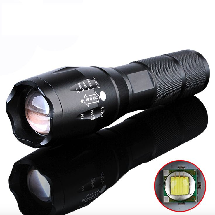 LED Flashlight 2000 Lumen Tactical Waterproof Zoomable Powerful XML T6 Lamp Camping Torch w/ Rechargeable Battery