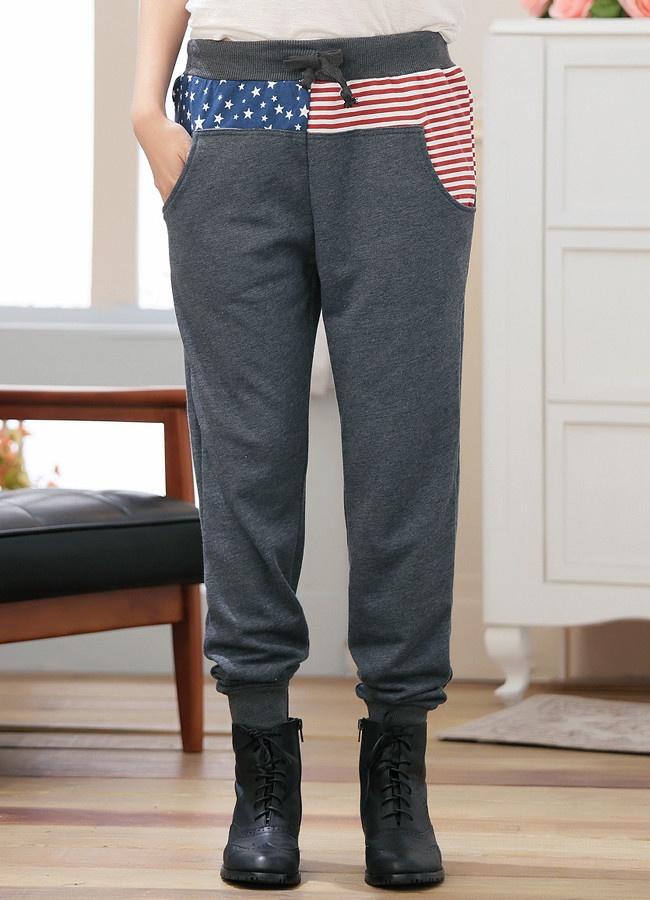Frete grátis plus tamanho velo moletom carga calças das mulheres esporte casual solta 2013 com bandeira