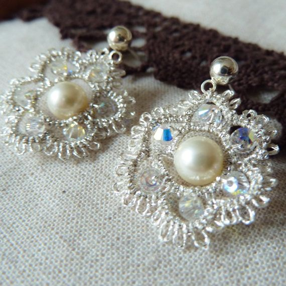 Silver lace earrings vintage style Victorian inspired bridal jewelry retro wedding bridesmaid gift  pearl crystals stud post