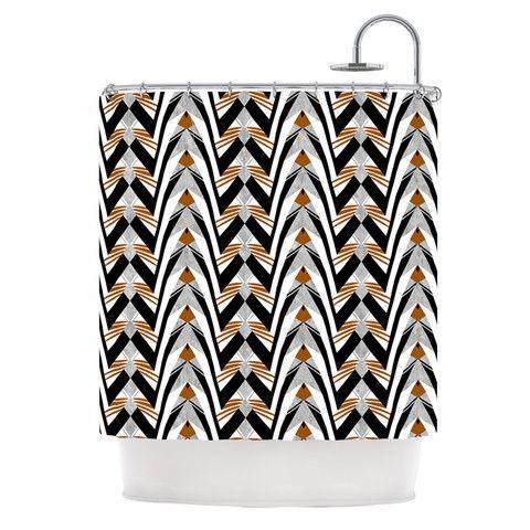 "Vikki Salmela ""Wings"" Orange Gray Shower Curtain | KESS InHouse #SALE #new #deco #graphic #modern #stripe #Gatsby #original #art for your #bathroom #shower #curtain #tub #home #decor by #vikkisalmela #polkadotstudio for #KessInHouse."