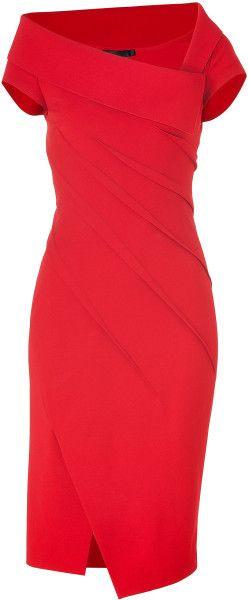 Donna Karan New York Red Lipstick Red Sculpted Cap Sleeve Dress