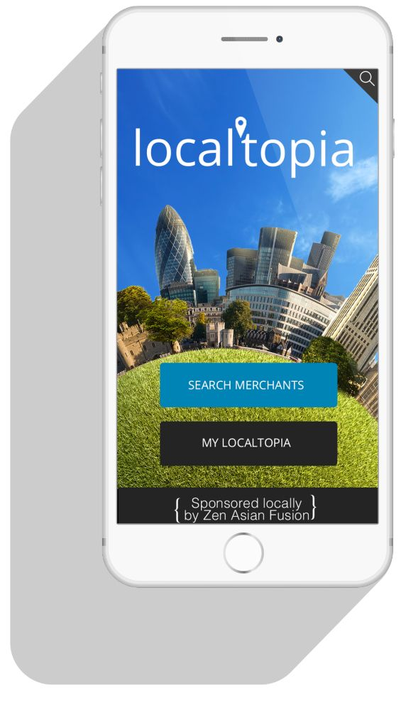 Localtopia. We took this startup to the next level with design and marketing! The app is shown here on the iPhone.
