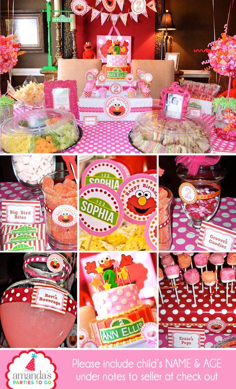 Girl Elmo Birthday Party | Pink Elmo Girl Party Decorations | Elmo Girl Birthday Party Printable | 1st Birthday | Amanda's Parties To Go by AmandasPartiesToGo on Etsy https://www.etsy.com/listing/67036759/girl-elmo-birthday-party-pink-elmo-girl