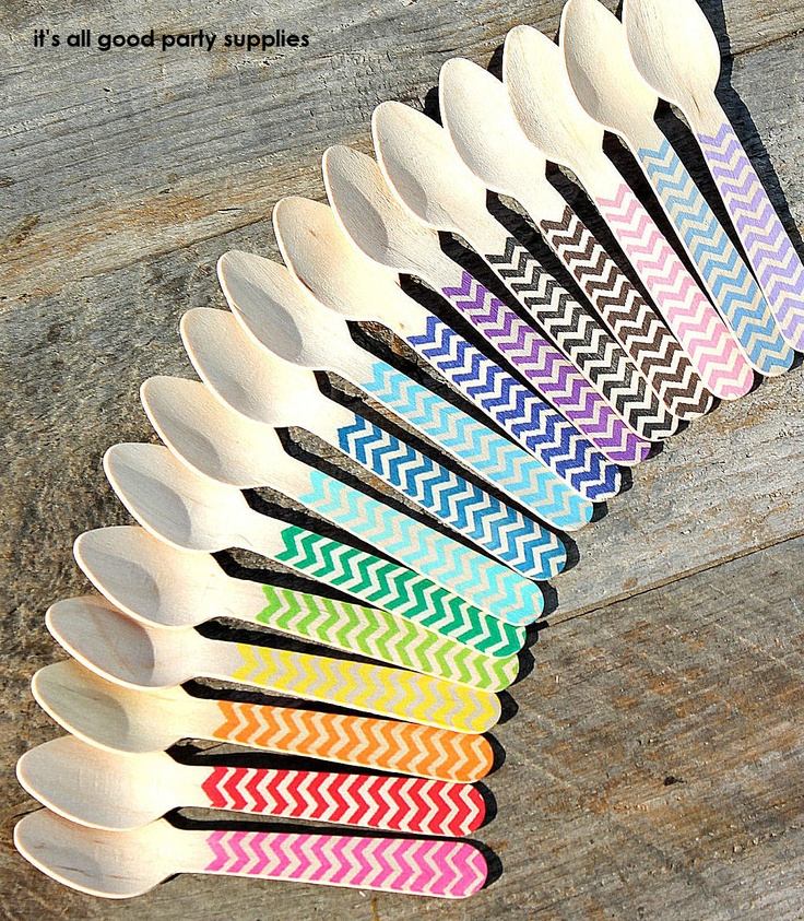 Small Wooden Spoons with Chevron - PICK YOUR COLORS - Eco-friendly Cupcake Spoons, Ice Cream Spoons (set of 18). $7.50, via Etsy.