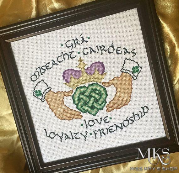 Claddagh - Irish Celtic Cross Stitch Pattern - Instant Download - by MissKaysShop ---> find us on Facebook.com/MissKaysShop