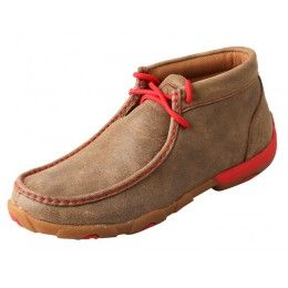 Twisted X Ladies' Driving Mocs Brown Bomber with Red Accents