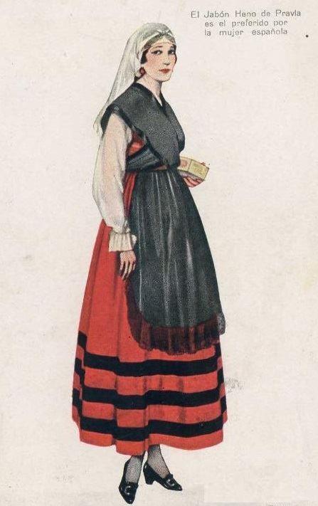 Antiguo anuncio del jabón HENO DE PRAVIA de 1917, dedicado a la mujer asturiana, dentro de su colección publicitaria de láminas con anuncios de mujeres vestidas con los trajes regionales de las diferentes provincias.