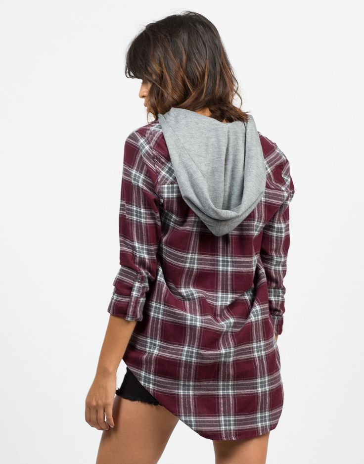Front View of Hooded Flannel Shirt