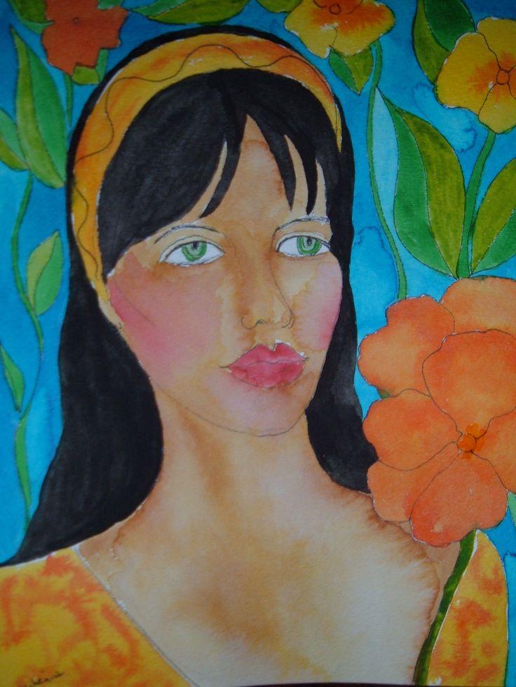 island girl - watercolour