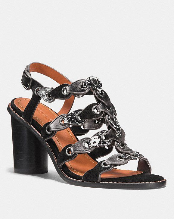 132f822db8e Coach Mid Heel Sandal With Coach Link