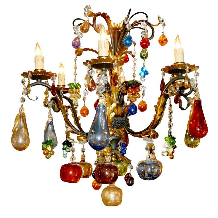 Italy Multicolor hand-blown Murano glass/gilded iron chandelier 20th century
