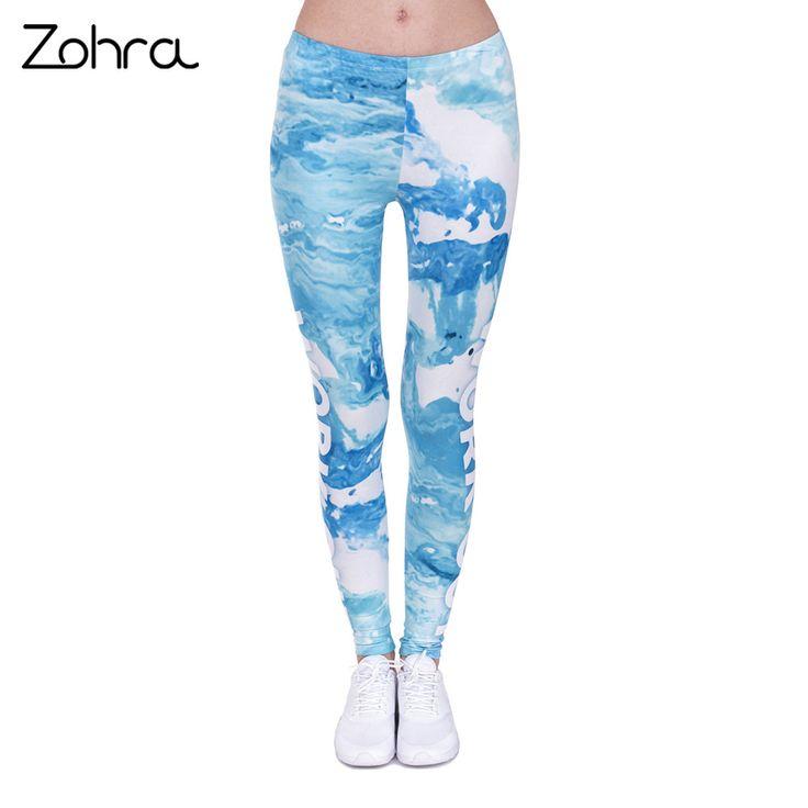 Work Out Woman Legins Marble Blue Printing Sexy Slim Legging Women Leggings 9