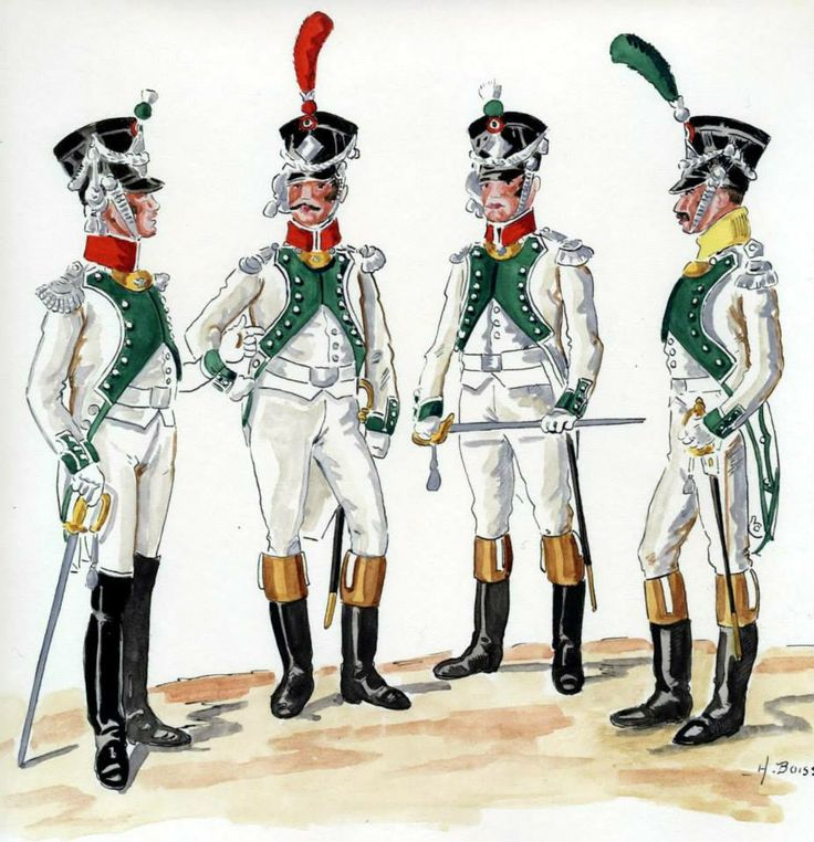 Kingdom of Italy-the officers of the line Infantry Regiment 3, 1813 from left to right: Colonel, officer of the grenadiers, Fusiliers officer, officer Woltyżerów. Fig. H. Boisselier.
