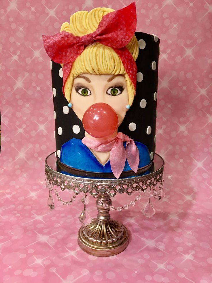 50 S Girl 50 S Cake Of A Girl Blowing A Bubblegum Bubble