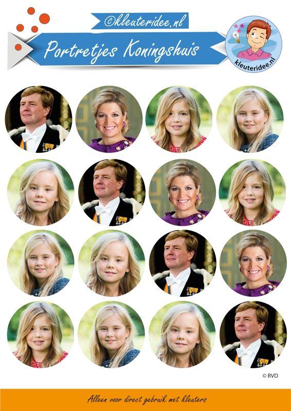 Portretjes voor de feestmuts bij thema koningsdag , kleuteridee, free printable.