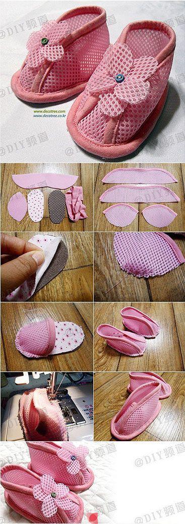 Como a costurar bonito sapatos de bebê DIY passo a instruções tutorial passo a costurar sapatos de bebê DIY bonito ...