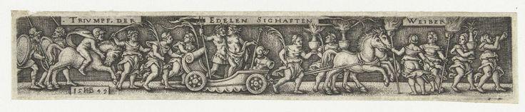 Hans Sebald Beham | Fries met een man en een vrouw in een triomfwagen, Hans Sebald Beham, Anonymous, 1510 - 1549 | Fries met dezelfde voorstelling als de prent met objectnummer RP-P-OB-8095, maar dan in omgekeerde richting en met inscriptie. De triomfwagen wordt getrokken door twee paarden. Achter de wagen lopen vrouwen en rijdt een ruiter. Vooruit lopen vrouwen met fakkels, kannen en een hoorn. Gearceerde achtergrond.