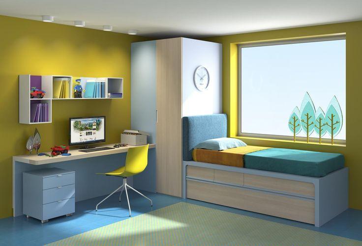Dormitorio Juvenil de diseño, Compacto muy colorido. Lacado.