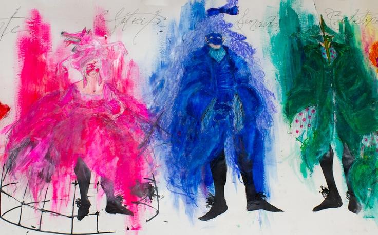 La maquette des costumes de la pièce Les Femmes de bonne humeur, de Carlo Goldoni, mise en scène par René-Daniel Dubois, et créée en collaboration avec les finissants de l'École nationale de théâtre.