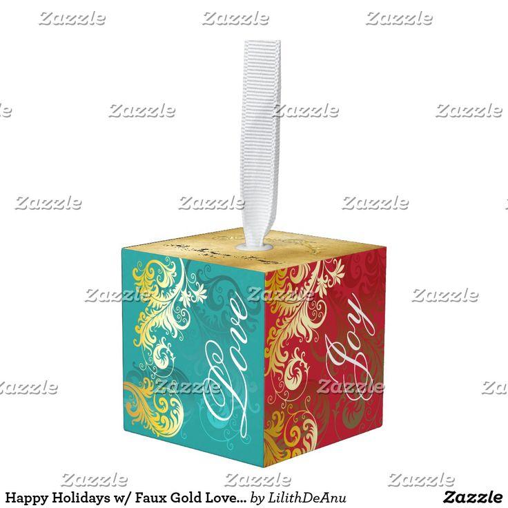 Happy Holidays w/ Faux Gold Love Joy Peace Hope Cube Ornament