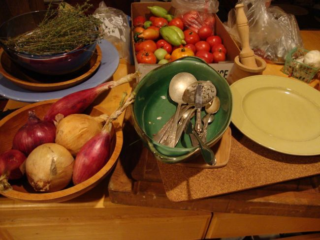 Some of the food and props we used for the savory soufflés in the photo shoot.