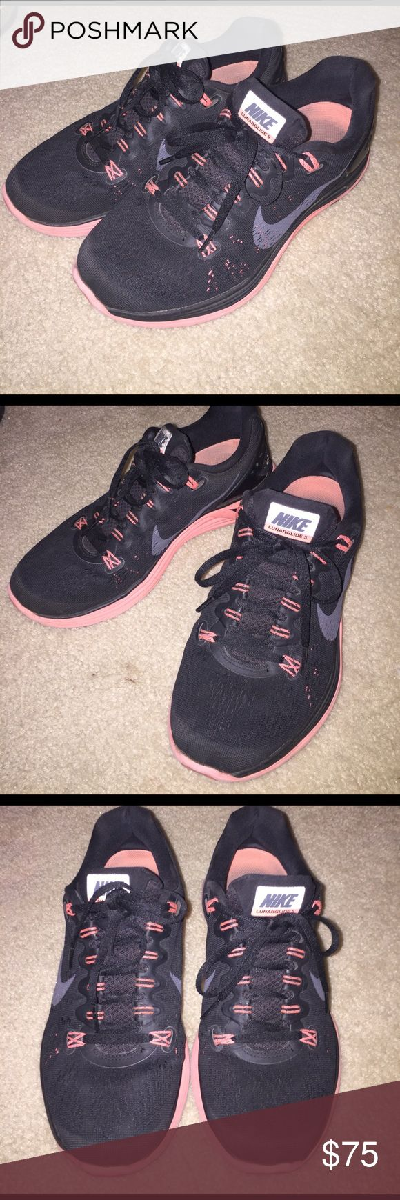 Black and Pink Nike Lunarglide 5 Sneakers Black and Pink Nike Lunarglide 5 Sneakers Nike Shoes Sneakers