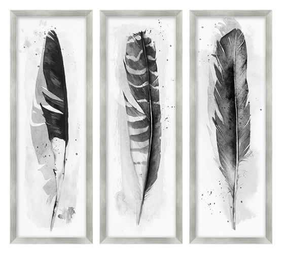 Ink Wash Feather Framed Print | Pottery Barn