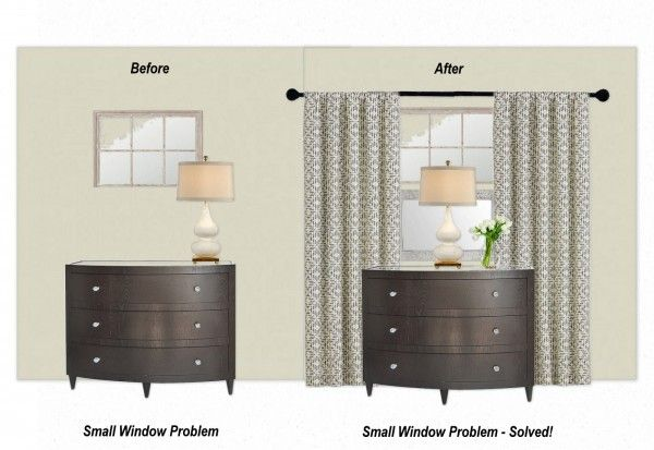 Interior Designer's trick for small windows - mount a mirror lengthwise under the window, then hang floor length window panels from above the window.  Place a lamp in the middle of the dresser to camouflage the mirror and help integrate it with the window above.