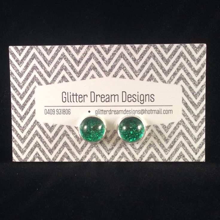 Order Code D6 Green Cabochon Earrings