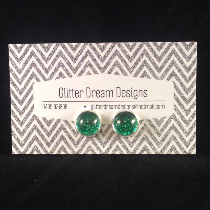 Order Code D6 Green Cabochon Earrings