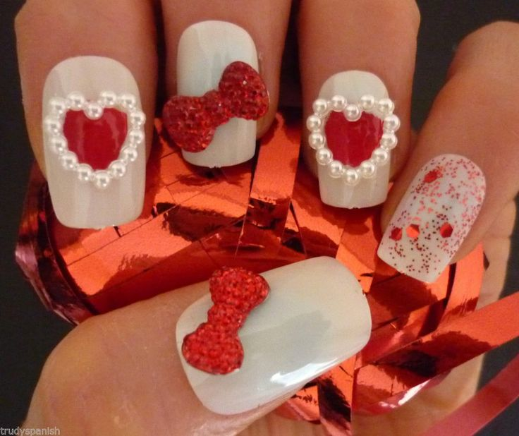Valentines 3d nail art red bows pearl heart 3d nail art for 3d nail art decoration
