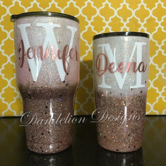 5bd89f9f2f5 Glitter Tumbler Glitter Cup Ivory & Rose Gold Ombre Name Initial Monogram Custom  Colors Stainless Mom Cup Coffee Cup Travel Cup Double Wall