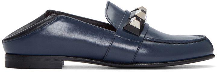 Fendi Navy Studded Loafers