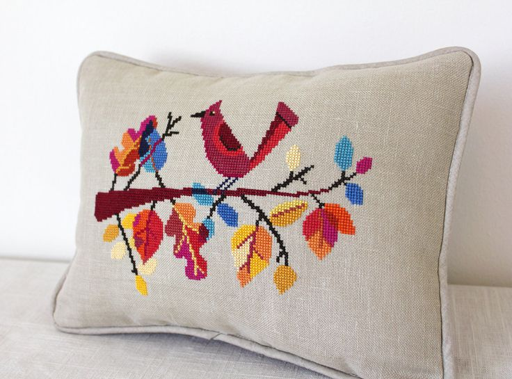 Autumn Bird modern cross stitch pattern PDF от SatsumaStreet