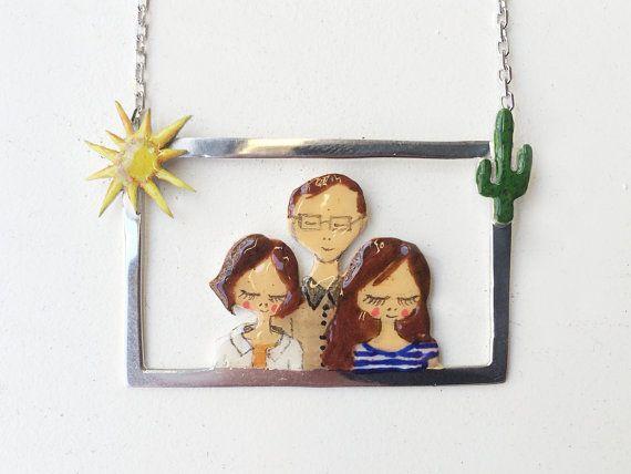Custom Portrait Necklace-Family-Child-Personalized by yukabyguliz