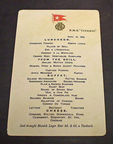 White Star Line Rms Titanic April 14th 1912 Lunchoen Menu