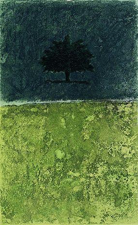 Carlo Mattioli, Paesaggio con albero, 1991