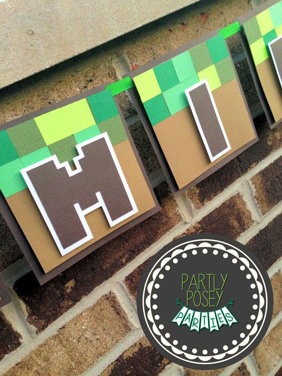 Minecraft Inspired Custom Birthday Banner – includes name banner. This banner is the perfect addition to your next birthday party. Need other