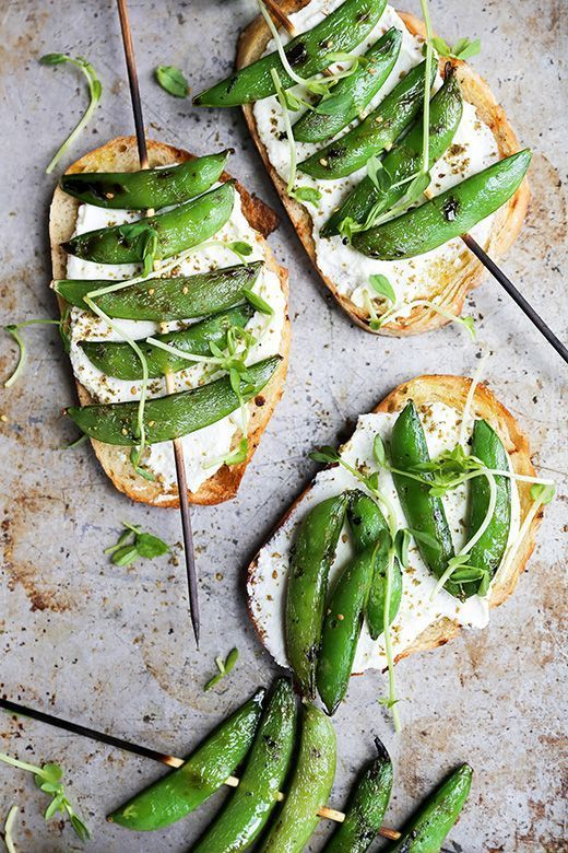 grilled snap pea and whipped ricotta toast | the floating kitchen.