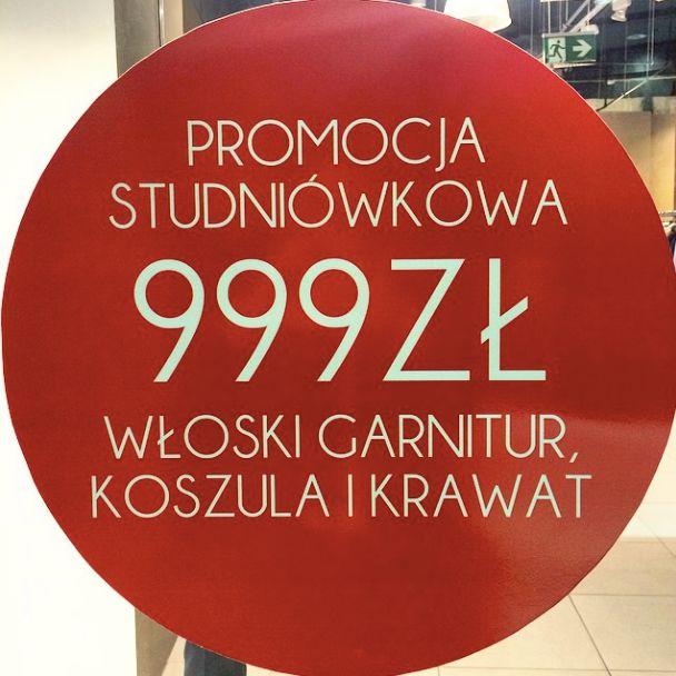 Promocja studniówkowa! Za jedyne 999 zł zestaw garnitur + koszula + krawat! Zapraszamy do Piazza Di Moda w Sky Tower! www.piazzadimoda.pl