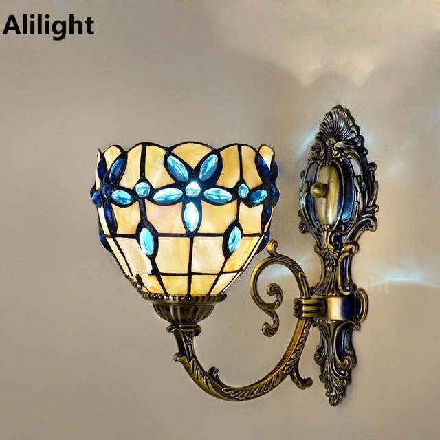 Modern Lilac Blue Crystal Shell Wall Lamp Mediterranean Mirror Front Wall Light Bedroom Bedside Sconces T Wall Lights Bedroom Wall Lights Mediterranean Mirrors