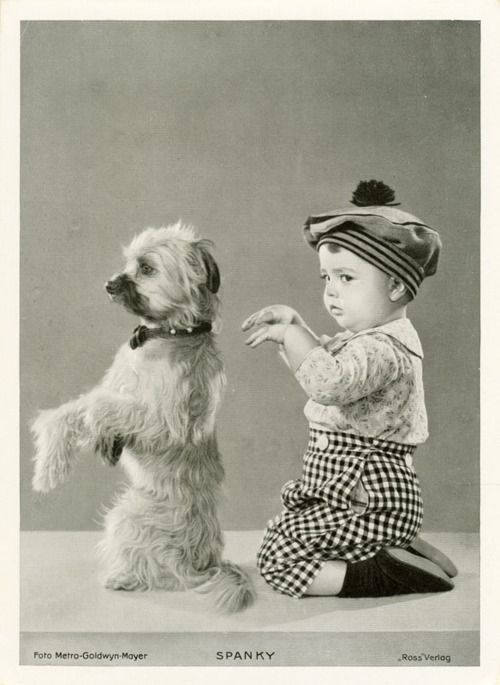 1920s  Spanky from The Little Rascals poses like a dog.