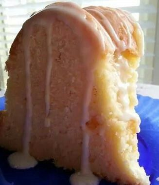Cream cheese pound cake with glaze