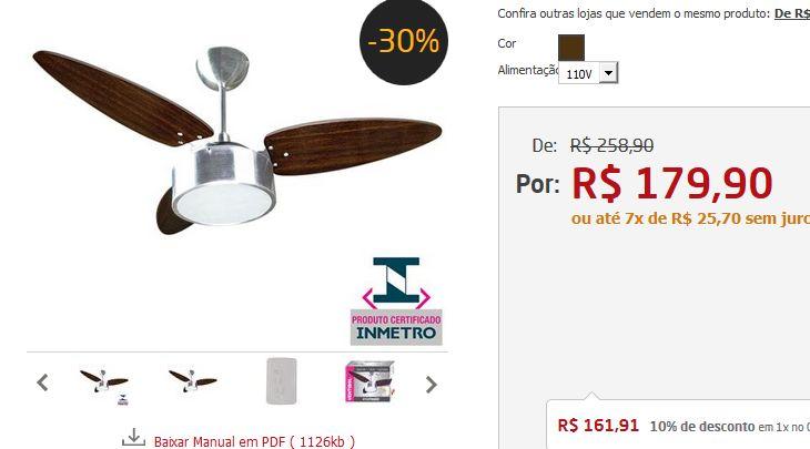 Ventilador de Teto Ventisol Fharo com Lustre e 3 Velocidades Tabaco << R$ 16191 >>