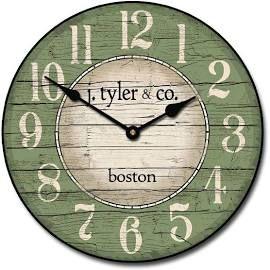 Boston Harbor Green Wall Clock